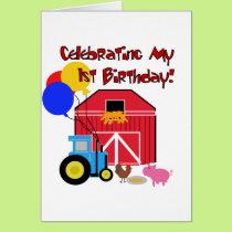 Farm 1st Birthday Tshirts and Gifts Card