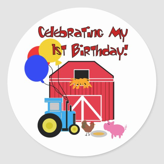 Farm 1st Birthday Tshirts and Gifts Classic Round Sticker