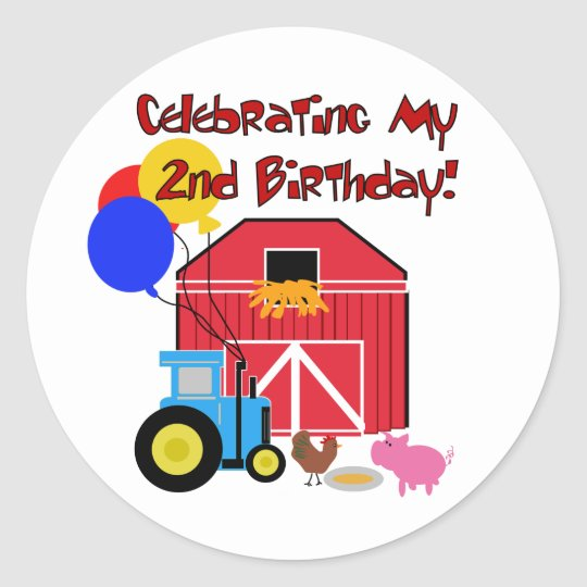 Farm 2nd Birthday Tshirts and Gifts Classic Round Sticker