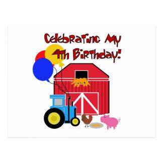 Farm 4th Birthday Tshirts and Gifts Postcard