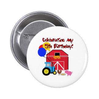 Farm 5th  Birthday Button