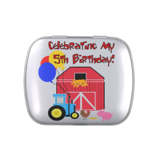 Farm 5th Birthday Candy Tins and Jars