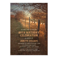 Farm 80th Birthday Invitations Rustic Country Path
