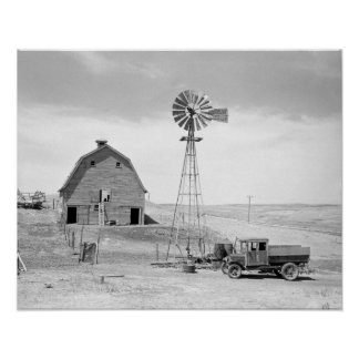 Farm abandonada, 1936. Foto del vintage Póster
