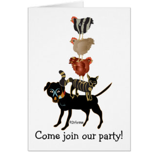 Farm acrobats. dog, cat, 3 hens! card