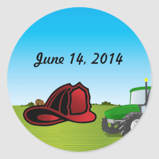 Farm and firefighter wedding classic round sticker