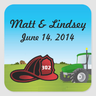 Farm and firefighter wedding square sticker