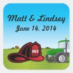 Farm and firefighter wedding sticker