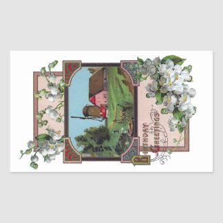 Farm and Lily of the Valley Vintage Birthday Rectangular Sticker