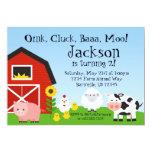 "Farm Animal and Barn Birthday Party Invite 5"" X 7"" Invitation Card"