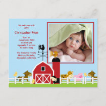 Farm Animal Baby Boy Birth Photo Announcement
