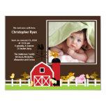 "Farm Animal Baby Boy Birth Photo Announcement 4.25"" X 5.5"" Invitation Card"