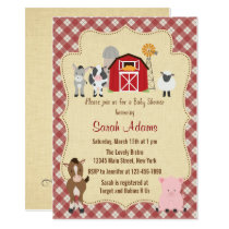 Farm Animal Baby Shower Invitation Rustic