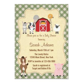 Farm Animal Baby Shower Invitation Rustic