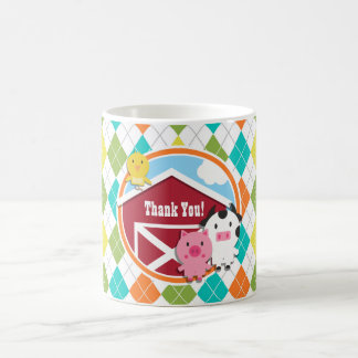 Farm Animal Baby Shower on Colorful Argyle Classic White Coffee Mug