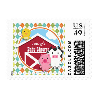 Farm Animal Baby Shower on Colorful Argyle Stamp