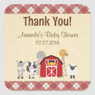 Farm Animal Baby Shower Thank You Stickers