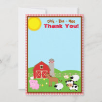 Farm Animal Barnyard Birthday Baby Shower Thank You Card