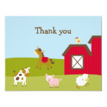 Farm Animal Barnyard Thank You Note Cards Invitations