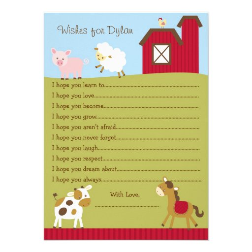 Farm Animal Barnyard Wishes for Baby Cards