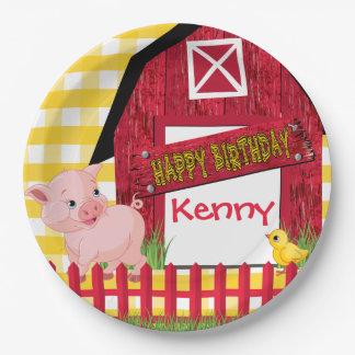 Farm Animal Birthday 9 Inch Paper Plate