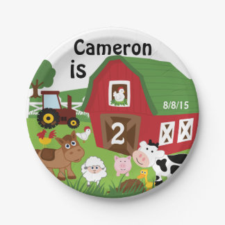 Farm Animal Birthday Paper Plates