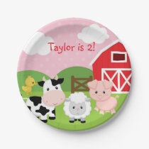 Farm Animal Birthday Party Paper Plates (Pink)