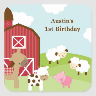 Farm Animal Birthday Stickers