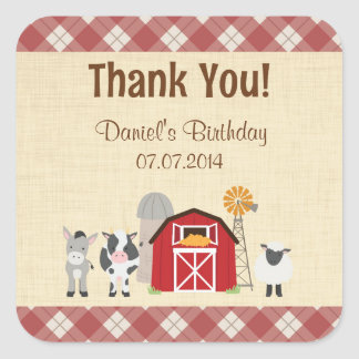 Farm Animal Birthday Thank You Stickers