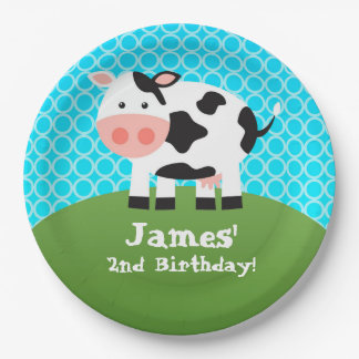 Farm Animal, Black White Cow, Kids Birthday Party Paper Plate
