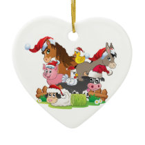 Farm Animal Christmas Ceramic Ornament