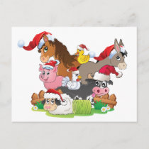 Farm Animal Christmas Holiday Postcard