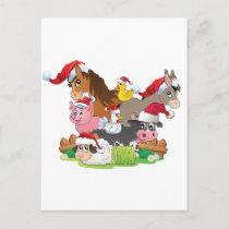 Farm Animal Christmas Holiday Postcard