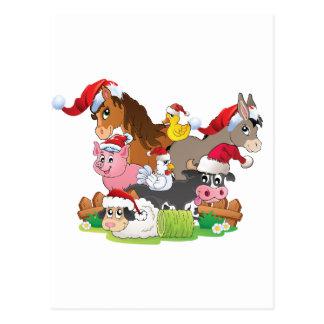 Farm Animal Christmas Postcard