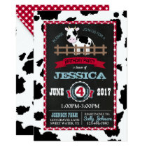 Farm Animal Cow Cowhide Gingham Country Birthday Invitation