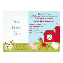Farm Animal Custom Photo Birthday Invitations