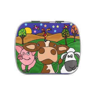 Farm Animal Folk Art Candy Tin