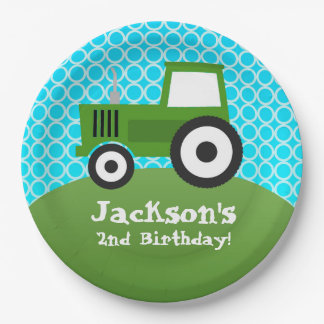 Farm Animal, Green Tractor, Kids Birthday Party Paper Plate