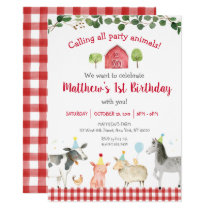 Farm Animal Greenery 1st Birthday Invitation