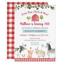 Farm Animal Greenery 2nd Birthday Invitation