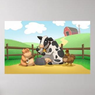 Farm Animal Jug Band Poster print