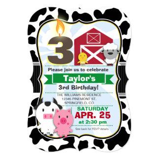 Farm Animal Kids Birthday Party 5x7 Paper Invitation Card