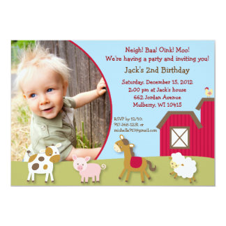 Farm Animal Neutral Photo Birthday Invitations