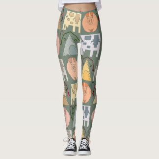 Farm Animal Pattern on Blue Grey Background Leggings