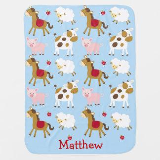 Farm Animal Personalized Baby Blanket