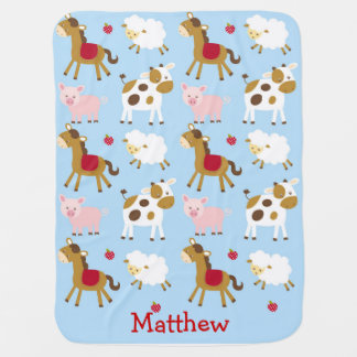 Farm Animal Personalized Baby Blanket