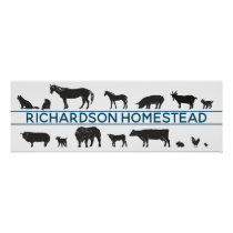 Farm Animal Silhouettes Personalized Homestead Poster