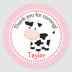 Farm Animal Stickers (Pink for Girls) with Cow