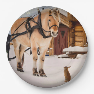 Farm animal talk horse and rabbits 9 inch paper plate