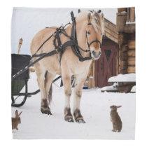 Farm animal talk horse and rabbits bandana